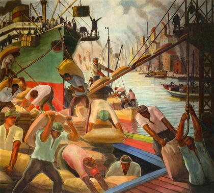 Embarque de cereales, c.1936. Painted by Benito Quinquela Martín. Mural de la Escuela Pedro de Mendoza.